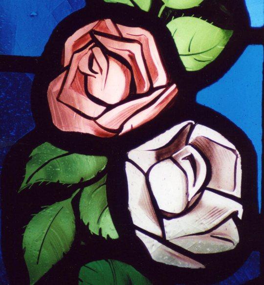 Różowe róże - witraż